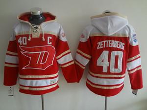 Old time jerseys de hóquei no gelo 2016 estádio série Detroit Red Wings # 40 Henrik Zetterberg camisola com capuz vermelho camisolas jaqueta