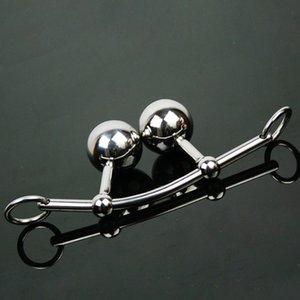 Metal Anal Hook With Penis Ring For Male Butt Plug Steel Anal Balls 2 Beads 2 Cock Rings Erotic Sex Toys For Couples