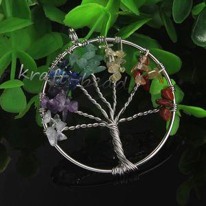 wholesale 10Pcs Charm Silver Plated Gravel Mixed Gemstone Winding Round Shape Beads Tree of Life Hearling Ponit Chakra Stone Pendant Jewelry