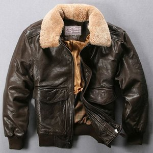 Avirexmen hava kuvvetleri uçuş ceket kürk yaka hakiki deri ceket erkekler siyah kahverengi koyun ceket kış bombacı ceket erkek