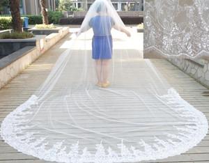 3 m * 4 m Katedrali Düğün Veils İki Katmanlar Beyaz Fildişi Bling Bling Sequins Beyaz Fildişi Dantel Tül Gerçek Fotoğraf Gelinlik Peçe
