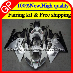 Body For Aprilia RSV1000R Mille RSV1000 RR 03 04 05 06 07 08 2GP10 RSV 1000R White silvery 2003 2004 2005 2006 2007 2008 Motorcycle Fairing