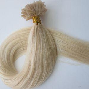 100g 100 Fios Prego U Dica Extensões de Cabelo 18 20 22 24 inch # 60 / Platinum Loira Pré Ligado Brasileiro Indiano cabelo Humano