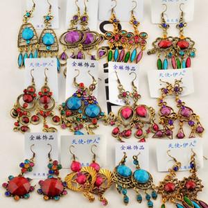 Random mix 10 style 10Pairs lot Retro Vintage Bronze Resin crystal Gem Earings Dangling Hanging earrings