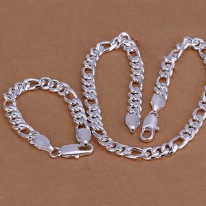 Высокий класс 925 стерлингового серебра 10MM три кусок «- Мужчины комплект ювелирных изделий DFMSS097 новый завод прямые 925 Silve ожерелье браслет