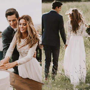 2019 Cheap Boho Country Wedding Dresses Long Sleeves A Line Jewel Floor Length Bridal Gowns Lace Chiffon Plus Size Wedding Gowns