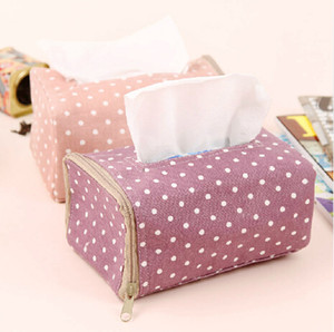 All'ingrosso-Corea White Dot Pattern Home Decoration Tissue Box Cover Car Styling Tissue Holder
