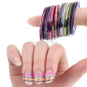 Al por mayor-30 piezas 30 Rollos multicolores Striping tape línea Nail Art decoraciones consejos adhesivo colores mezclados DIY Nail Tips envío gratis