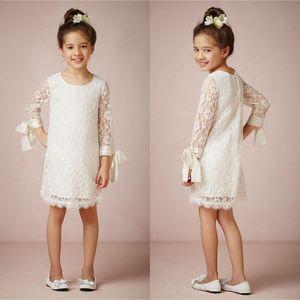 Дешевые 2015 девушки цветка платья с длинными рукавами Jewel шеи длиной до колен кружева детские свадебные платья EA0049