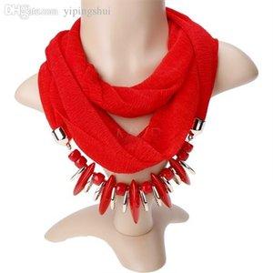 도매 핫 판매 패션 여성 / 레이디의 3 색 쥬얼리 스카프 목걸이 Infinity Scarf Beads 펜던트 스카프 무료 배송 10