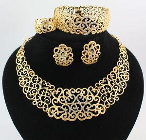 Collar Pulsera Anillos Pendientes Conjuntos de joyería africana Moda 18K Recién casados Flor de oro Rhinestone Conjunto de banquetes