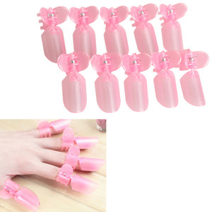 10Pcs Pink Plastic Salon Nail Art DIY Nanicure Design Tips Varnish Cover Polish Shield Protector Clip Set TOP27