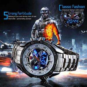 Мужские часы с двойным дисплеем Часы с кварцевым механизмом 30 метров Спортивные часы Марка TVG Цифровые светодиодные военные часы из нержавеющей стали Мужские часы
