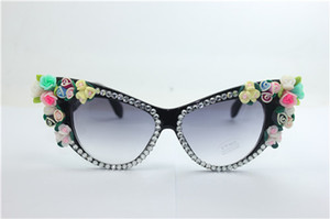 Drop free shipping quality NEW summer white crystal black frame multi-colors rose flower clay flower UV 400 plastic cat eye sunglasses 7