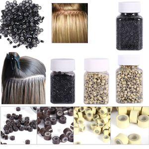 Micro Rings 4 * 3MM 200 / 500Pcs Micro Crimp Beads Micro Bead Hair Silicone Ring / Enlaces / Cuentas para extensiones de cabello 3 colores