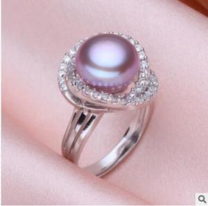Yeni doğal renkler inci standart gümüş açık halka 10-11mm büyük inci elmas ayarlanabilir yüzük üç renk seçebilirsiniz