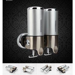 Бесплатная доставка Оптовая и розничная продвижение высококачественной хром ванная комната для жидкого мыла настенный 2 мыло контейнер