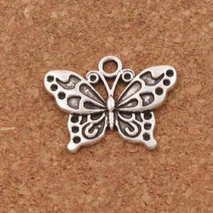 Beyaz Tavuskuşu Anartia Jatrophoe Kelebek Charm Boncuk 100 adet / grup 24.8x19.1mm Antik Gümüş Kolye Takı DIY L1128