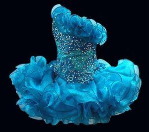 2020 Glitz кекс органзы маленьких девочек Pageant платья Sparkly одно плечо из бисера кристалл Короткие Девочек Выпускные платья партии
