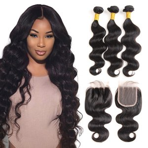 Brazilian virgin human hair weave unprocessed body wave natural color 4x4 lace closure with three bundles brazilian virgin hair bundles with