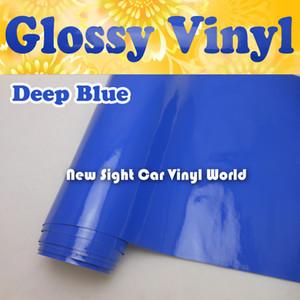 Hochwertige Gloss Blue Vinyl Roll Blue Gloss Wrap Folie Luftfreie Blase für Auto-Abziehbilder Auto-Aufkleber Größe: 1,52 * 30 m / Rolle