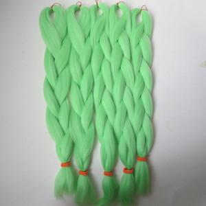 Kanekalon sentetik Örgü Saç 24 inç 80g PISTACHIO YEŞIL Xpression Jumbo sentetik Tığ Örgüler saç uzantıları T0220