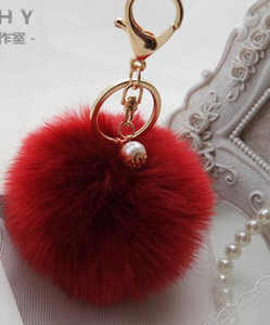 Hang bag lovely hair ball portachiavi ciondolo palla di pelo di coniglio ciondolo auto simulazione portachiavi di pelliccia di signora