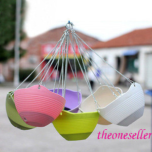 Hanging Baskets Plastic Hanging Planter Bonsai Spider Plant Colorful With Chains Flying Flowerpot Flower Pot 100pcs Lot