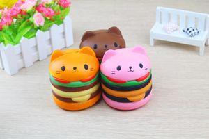 Squishy all'ingrosso 9.5 * 8.5 * 8.5CM Cat Head Burger lento aumento raccolta animali morbidi Decorazione testa di gatto accessori di imballaggio