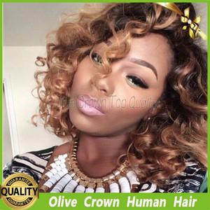 레이스 프런트 가발 2 톤 브라질 무언가 인간의 머리카락 곱슬 머리 버진 Ombre 레미 헤어 짧은 컬리 전체 레이스 가발 T1b # / 30 #