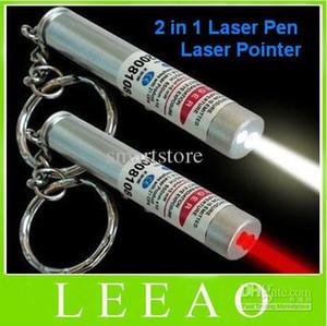 100 adet / grup # Yeni 2 in 1 Beyaz LED Işık ve Kırmızı Lazer Pointer Kalem Anahtarlık El Feneri Işık anahtarlık