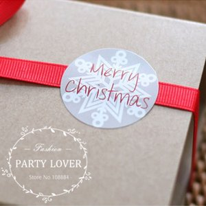 """Feliz Natal"" adesivos de neve branca para embalagem de presente lables casamento etiqueta autocolante diâmetro: 1.4 ""- 1500pcs / lot"