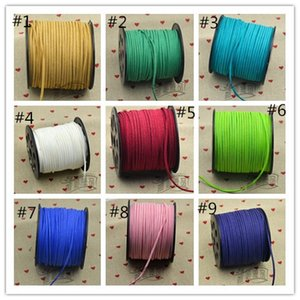 9 colores eligen 100M 3mm x 1.5mm Flat Faux Suede Korean Velvet Leather Cord string Cuerda Thread Lace Findings