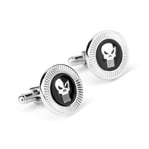 Punisher Kafatası Gümüş Ton Emaye Manşet Bağlantı Gömlek Fransız Kol Düğmeleri düğün kol düğmeleri Moda Takı Ücretsiz Kargo W492