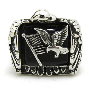 Acero inoxidable 316L Flying Eagle Flag Ring Band Party Fashion Jewelry Mens Band Party Diseño fresco Biker Flying Eagle Ring