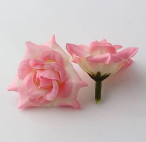 뜨거운! 100pcs 핑크 Crimping 장미 꽃 머리 결혼식 실크 꽃 장식 꽃 공 꽃꽂이