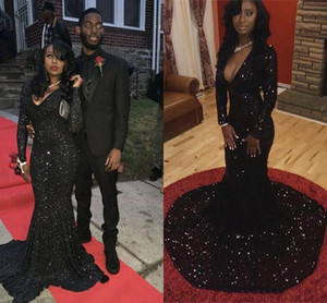 Black Vintage 2020 Muslim Shiny Sequins Long Sleeves Evening Dresses Deep V neck Mermaid Court Train Prom Dresses Formal Party Gowns PD83
