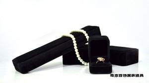 الجملة صندوق مجوهرات عالية الجودة العلامة التجارية الإسفنج السوداء المخملية الجميلة مجوهرات تغليف هدايا حلقة سوار قلادة قلادة سوار صناديق