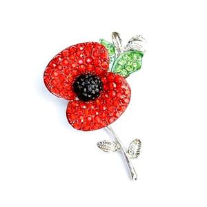 Tom de prata Sparkly Red Crystal Pretty Poppy Flor Pin Broche Memorial Day Poppy Broches Real Legião Britânica Poppy Flor Pins Emblema