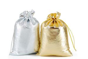 Sacchetti regalo di Natale all'ingrosso gioielli / moda 3 formati filato placcato oro sacchetti di gioielli in raso gioielli regalo imballaggio sacchetto della caramella 7x9 cm 9x12 cm