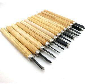12Pcs / Set Woodcut Knor Scorper Herramienta de talla de madera - Carpintería Hobby Arts Craft Cutter Graver Chisel Multi DIY Pluma