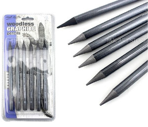 6 pieces set Woodless Graphite Pencils,artists pencil set (HB, 2B, 4B, 6B, 8B & EE) for sketching and drawing