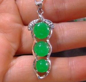 3 estilos Tíbet plata verde jade malayo jade colgante collar niña niño colgantes 925 collares de plata joyería nupcial para el vestido de boda