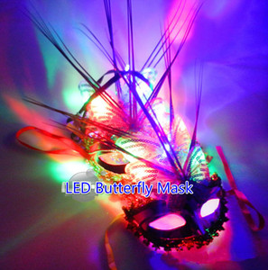 Free EMS 100pcs LED Light Up Glow Flash Butterfly Fiber Butterfly Mask Cap Headband Masquerade Mask Wedding Party Disco Club KTV Mask