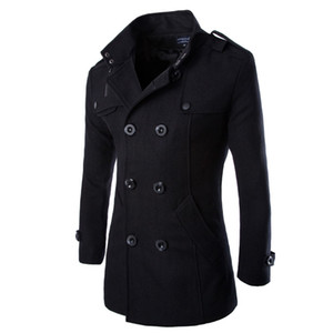 Otoño- Moda de invierno Chaquetas y abrigos para hombre Abrigo de lona Estilo británico con estilo Un solo pecho para hombre Abrigo de guisante de lana Trench Coat
