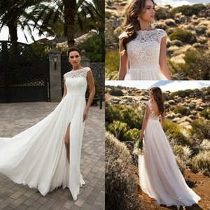 Stunning Split Long Wedding Dresses Garden Lace Sheer Tulle 2018 Spring Train Crew Neck vestido de noiva Bridal Gown Ball For Bride
