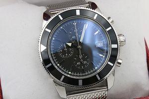 Лучшие продажи Хронограф мужские часы Серебряный пояс без швов Серебряный скелет темно-синий циферблат Белые часы с указателем тренда