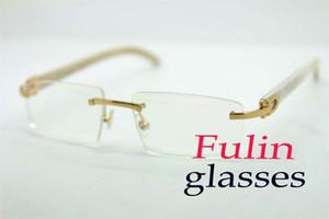 Ücretsiz nakliye White Buffalo Horn Kadınlar Okuma Gözlüğü T8100905 Sıcak satış yarım çerçeve C Dekorasyon Boyutu güneş gözlüğü: 54-18-140mm