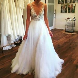 간단한 쉬어 V 목 Applique 레이스 웨딩 가운 라인 비치 스커트 봄 2019 최신 맞춤 제작 결혼 웨딩 드레스