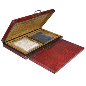 Venta al por mayor barato chino Go Game Set Leather Box Goban Board y piedras